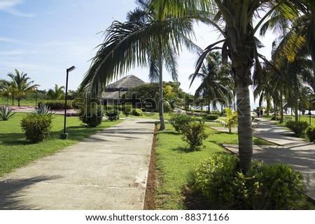 Tourist complex in a Caribbean beach.