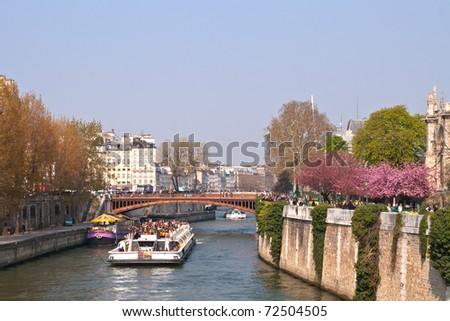 tourist cruise in River Seine Paris - stock photo