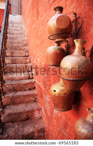 Tourist destination, colorful streets of Arequipa - Peru. - stock photo