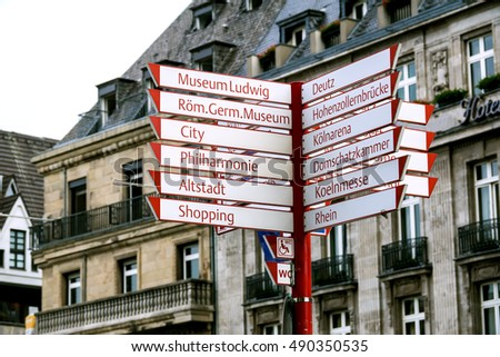 tourist direction sign in cologne, germany, city center