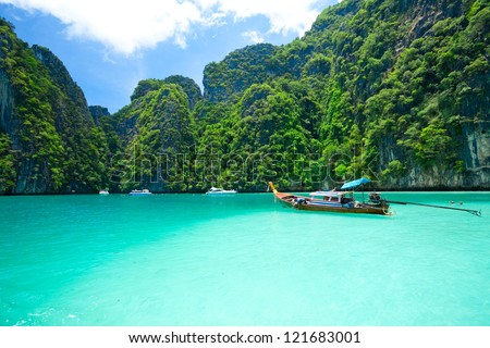tourist diving in the sea Phi Phi Leh south of Thailand - stock photo