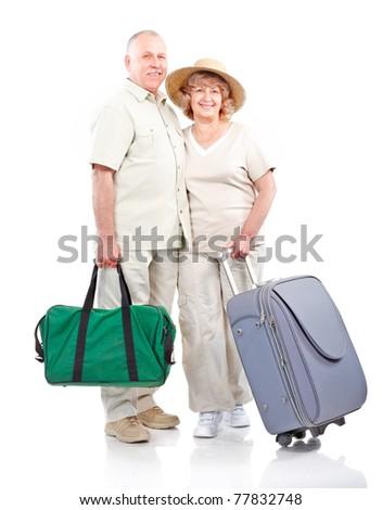 Tourist elderly seniors couple . Isolated over white background - stock photo