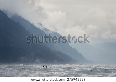 Tourist fishing in the Pacific Ocean, Skeena-Queen Charlotte Regional District, Haida Gwaii, Graham Island, British Columbia, Canada - stock photo