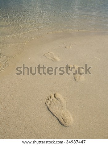 Tourist foot print on beach during vacation at exotic tropical resort of Kapalai island - stock photo