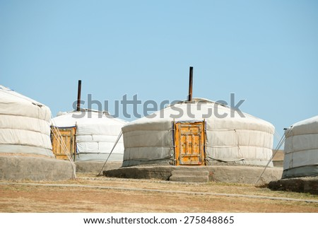 Tourist gers in Mongolia - stock photo