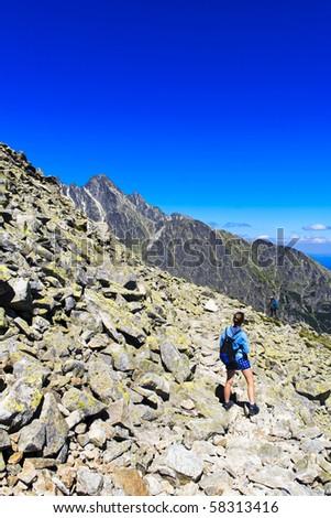 Tourist girl in a mountains, Tatra, Slovakia - stock photo