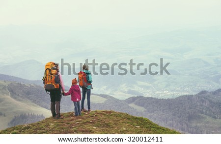 tourist girls and mountain views