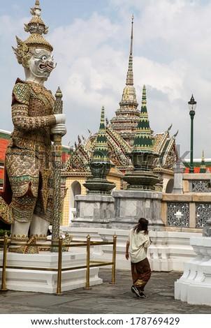 tourist in Bangkok temple - stock photo