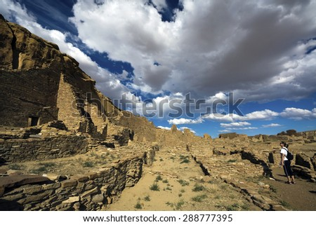 Tourist in Chaco Culture National Monument, New Mexico - stock photo