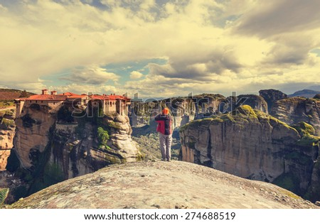 Tourist in Meteora, Greece