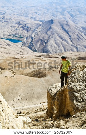Tourist in mountain of Jordan