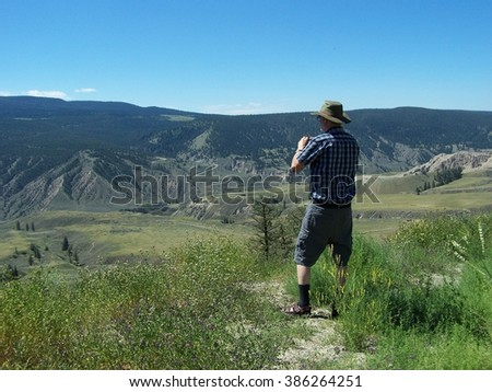 Tourist in the Chilcotin - stock photo