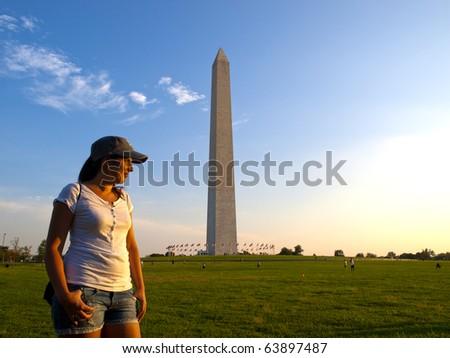 Tourist in Washington DC - stock photo