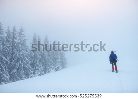 tourist in winter mountains.