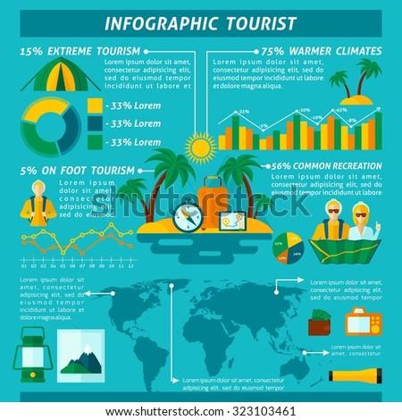 Tourist infographics set with travel symbols and charts  illustration - stock photo