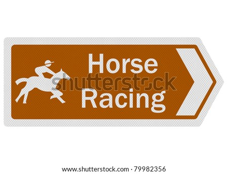 Tourist information series: photo-realistic metallic, reflective 'Horse Racing' sign, isolated on white - stock photo