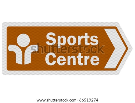 Tourist information series: photo-realistic metallic, reflective 'sports centre' sign, isolated on white