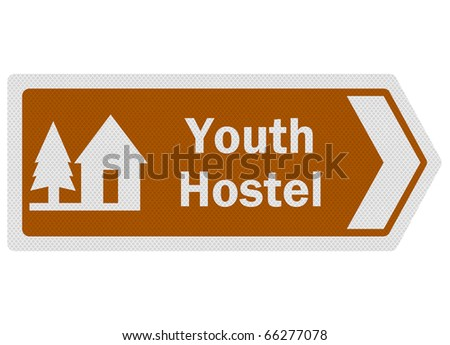 Tourist information series: photo-realistic metallic, reflective 'youth hostel' sign, isolated on white