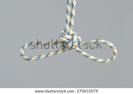 tourist knot Double Overhand - stock photo