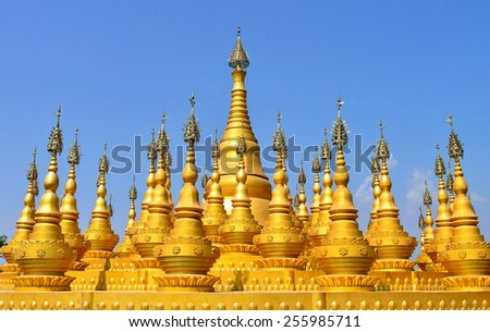Tourist landmark, pagodas, ruili, China - stock photo