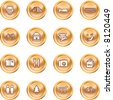 Tourist locations icon set Icon set relating to city or location information for tourist web sites or maps etc. - stock photo