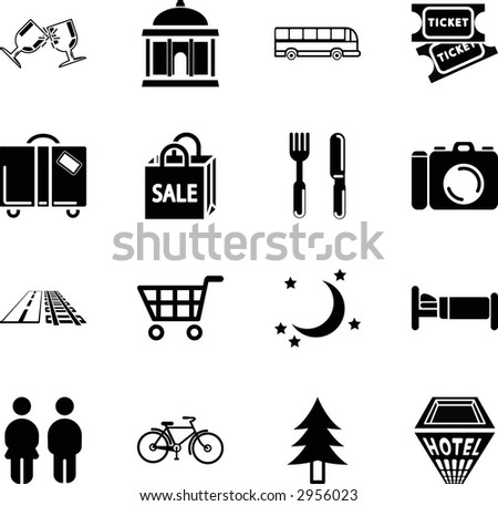 Tourist locations icon set Icon set relating to city or location information for tourist web sites or maps etc. Raster version - stock photo