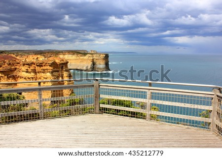 Tourist lookout at the twelve apostles seascape along the great ocean road in Australia. - stock photo