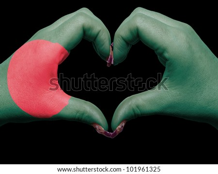 Tourist made gesture  by bangladesh flag colored hands showing symbol of heart and love - stock photo
