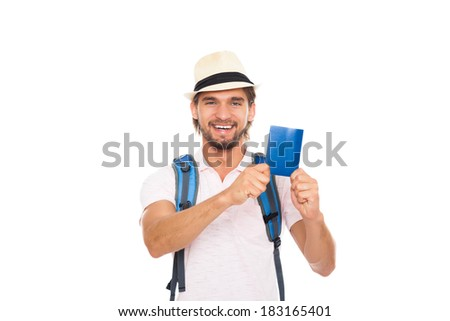 tourist man holding passport, guy in hat with backpack, smile, concept of travel summer vacation isolated over white background - stock photo
