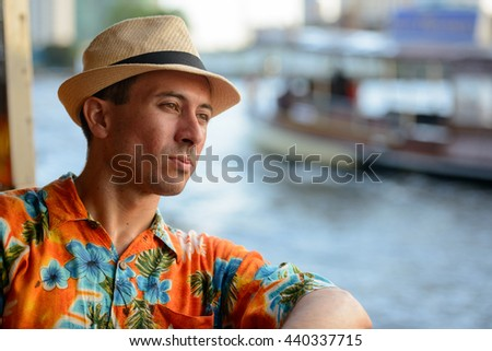 Tourist man in boat
