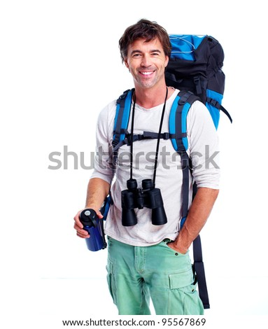 Tourist man. Isolated on white background.