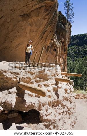 Tourist on Kiva - El Malpais National Monument; New Mexico. - stock photo