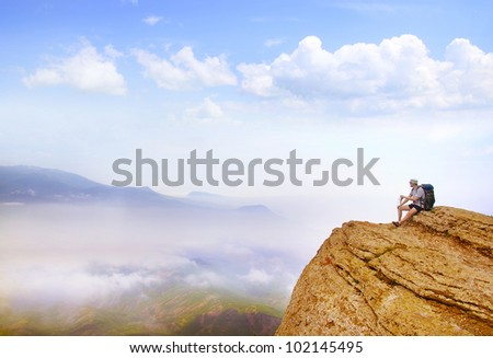 tourist on mountain