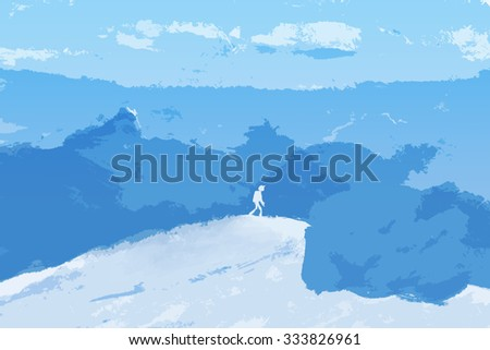 Tourist on peak of Alps Mountains. Success climbing to Top of Rock. Winter Illustration of challenge in interest style. - stock photo