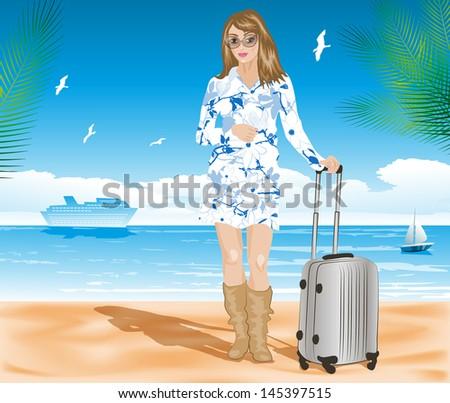 Tourist on the beach. Raster version of vector illustration - stock photo