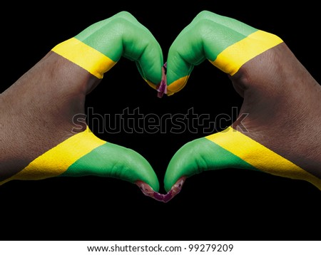 Tourist peru made by jamaica flag colored hands showing symbol of heart and love - stock photo