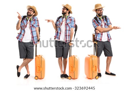 Tourist pointing to the lateral  - stock photo