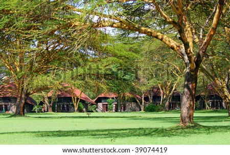 Tourist resort in a woods of Africa - stock photo