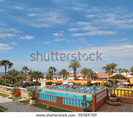 Tourist resort Playa de las Americas, Tenerife island, Canary Islands, Spain,