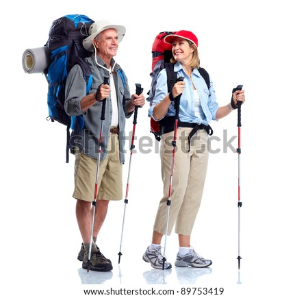 Tourist. Senior couple hiking. Isolated on white background. - stock photo