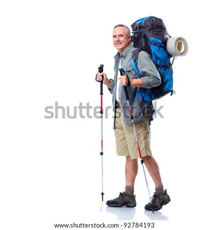 Tourist. Senior man hiking. Isolated on white background.