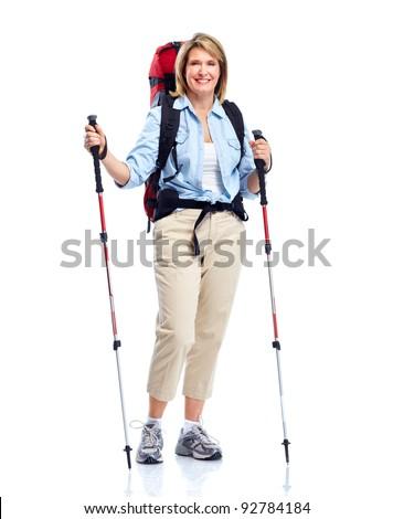 Tourist. Senior woman hiking. Isolated on white background. - stock photo