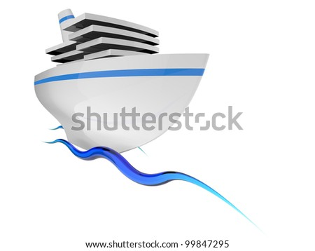 Tourist ship on the blue waves on white background