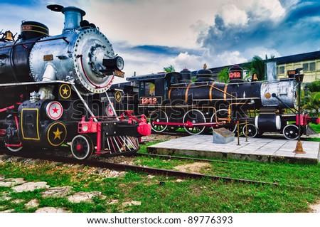 Tourist sugar trains, Santa Clara, Cuba - stock photo
