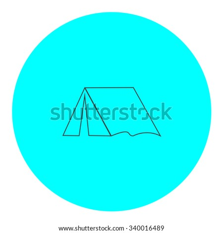 Tourist tent. Black outline flat symbol on blue circle. Simple illustration pictograh on white background