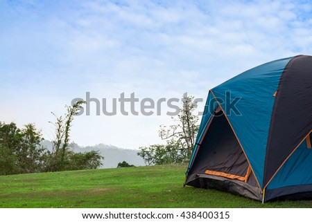 Tourist tent in camp in the mountain.