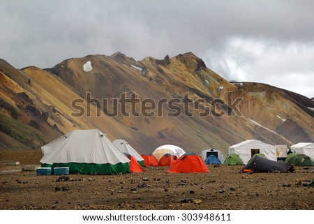 Tourist tent in the camping. Landmannalaugar. Iceland - stock photo