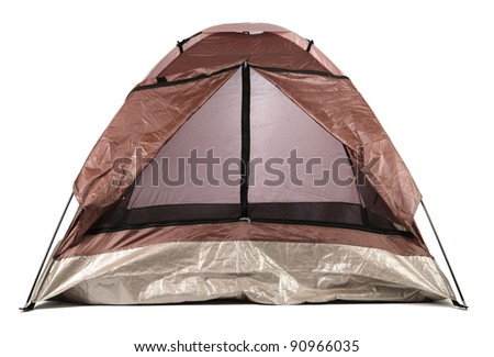 tourist tent isolated on white - stock photo
