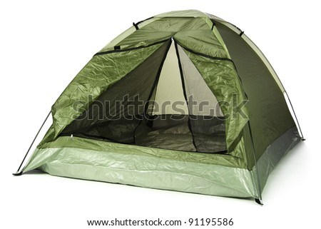 tourist tent isolated on white - stock photo