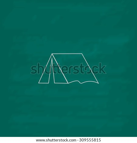 Tourist tent. Outline icon. Imitation draw with white chalk on green chalkboard. Flat Pictogram and School board background. Illustration symbol